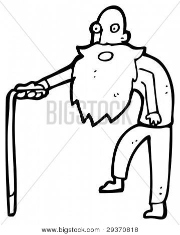 cartoon old man with walking Old Man Walking Cartoon