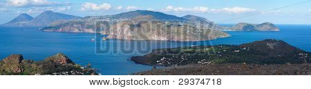 Aeolian islands seen from Vulcano island near Sicily