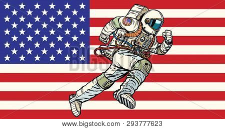 American Astronaut Patriot Runs Forward