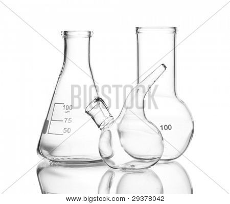 Three empty laboratory glassware with reflection isolated on white