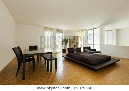 Bright duplex with hardwood floors, large room with double bed and table