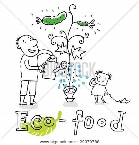 Eco food, vector drawing Eco_food.eps