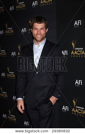 LOS ANGELES - JAN 27:  Liam McIntyre arrives at the AUSTRALIAN ACADEMY INTERNATIONAL AWARDS at Soho House on January 27, 2012 in West Hollywood, CA