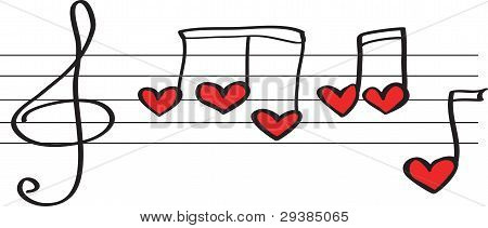 Notes In Form Hearts