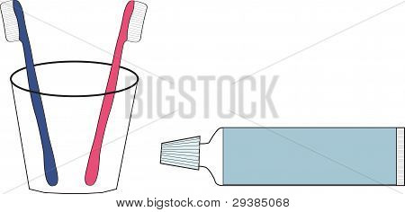 Two Tooth Brushes And Tooth-paste