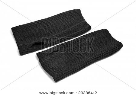 a pair of black fingerless gloves on a white background