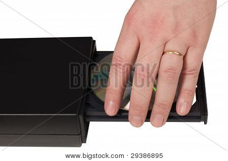 Hand Placing A Cd In A Drive Tray (1/3)
