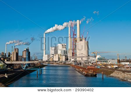 Construction site for a new coal fired power plant in Mannheim in Germany