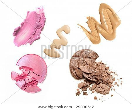 make-up products color sample isolated on white