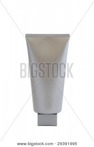 Cosmetic tube with no brand, on white background