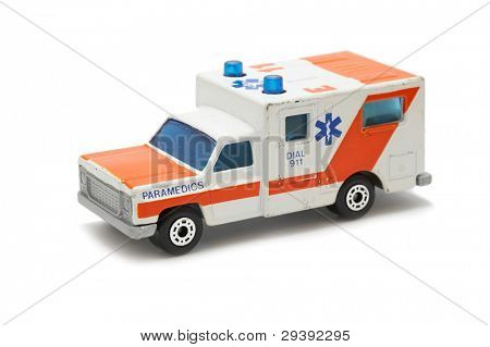 Emergency ambulance car,isolated on white background.