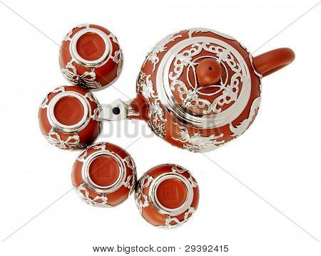 Beautiful  tea set, isolated on white background