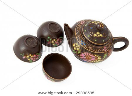 Pottery tea service, isolated on white