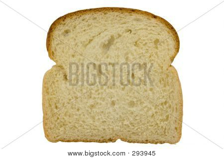Slice Of Bread Isolated On White Background With Clipping Path
