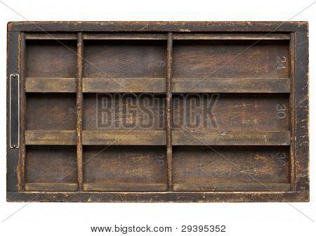 vintage wood printer drawer