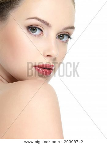 Face Of Girl With Red Lipstick