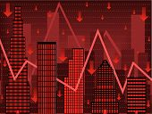 picture of nyse  - Stylized vector chart using buildings to imply falling wall street stock values - JPG