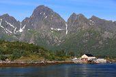Norway Landscape - Village Of Vestpollen, Lofoten Islands. poster