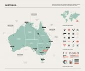 Vector Map Of Australia .  High Detailed Map With Division, Cities And Capital Canberra. Political M poster