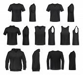 Women Shirts 3d Vector Templates From Front And Side Views. Black T-shirt, Polo And Hooded Sweatshir poster