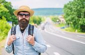 Looking For Company. Look For Fellow Travelers. Tips Of Experienced Tourist. Man Bearded Hipster Tou poster