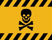 Vector Poison Danger Sign With Skull And Crossed  Bones. Toxic Warning Symbol. Safety Danger Icon poster