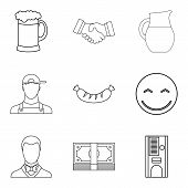 Beer Evening Icons Set. Outline Set Of 9 Beer Evening Icons For Web Isolated On White Background poster