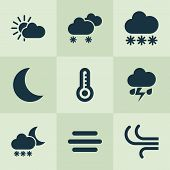 Climate Icons Set With Wind, Thermometer, Fog And Other Flash Elements. Isolated Vector Illustration poster