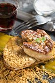 Foie Gras With Mango Puree On Dark Stone Background. French Cuisine Duck Liver Dish. poster