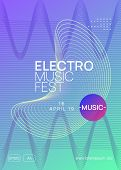 Electronic Party. Wavy Concert Magazine Template. Dynamic Gradient Shape And Line. Neon Electronic P poster