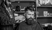 Barber With Hair Clipper Works On Hairstyle For Bearded Guy Barbershop Background. Hipster Lifestyle poster