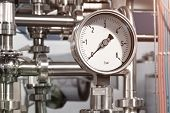 The Equipment Of The Boiler-house, - Valves, Tubes, Pressure Gauges, Thermometer. Close Up Of Manome poster