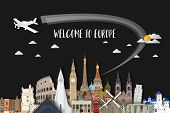 Europe Famous Landmark Paper Art. Global Travel And Journey Infographic. Vector Flat Design Template poster