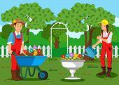 Gardeners Planting Flowers Cartoon Illustration. Handymen Working In Garden. Sprouts In Wheelbarrow. poster