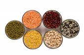 foto of urad  - Grains pulses and beans in bowl isolated over white over - JPG