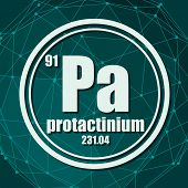 Proactinium Chemical Element. Sign With Atomic Number And Atomic Weight. Chemical Element Of Periodi poster