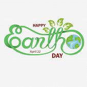 Green Happy Earth Day Typographical Design Elements. Happy Earth Day Hand Lettering Icon.happy Earth poster