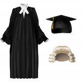 Judge, University Professor, Student Graduation Ceremonial Clothing Realistic Vector Set Isolated On poster