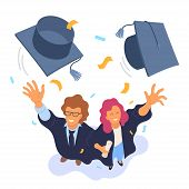 Two Happy College Graduates Throwing Academic Caps Vector Illustration. View From Above. Happy Gradu poster