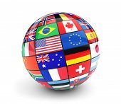 International Flags Globe. Business, Travel And Global Management Concept With International Country poster