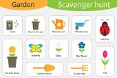 Scavenger Hunt, Garden Theme, Different Colorful Pictures For Children, Fun Education Search Game Fo poster