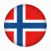 Norway Flag In Circle Shape. Scandinavian Country. Isolated Button Of Norwegian Banner With Scratche poster