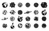 Universe Planet Icon Set. Simple Set Of Universe Planet Icons For Web Design Isolated On White Backg poster