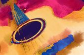 picture of western saddle  - Painting image with woody yellow guitar over pink - JPG