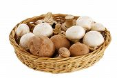 picture of champignons  - Champignon and portobello mushroom mix in straw basket isolated on white background - JPG