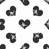 Grey Heart Rate Icon Isolated Seamless Pattern On White Background. Heartbeat Sign. Heart Pulse Icon poster