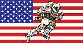 American Astronaut Patriot Runs Forward. Usa Flag. Pop Art Retro Vector Illustration Vintage Kitsch poster