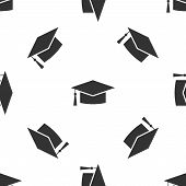 Grey Graduation Cap Icon Isolated Seamless Pattern On White Background. Graduation Hat With Tassel I poster