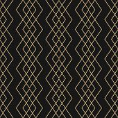 Vector Golden Lines Pattern. Subtle Geometric Seamless Texture With Grid, Rhombuses, Braid, Thin Lin poster