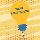 Text Sign Showing Online Registration. Conceptual Photo System For Subscribing Or Registering Via In poster